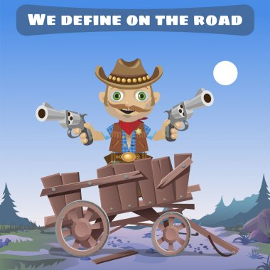 Cartoon character of Wild West, define on the road