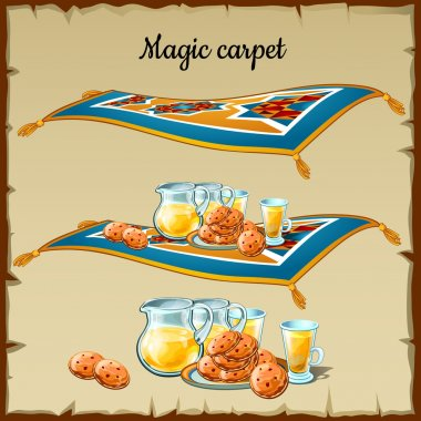 Magic carpet food, three images on a parchment background