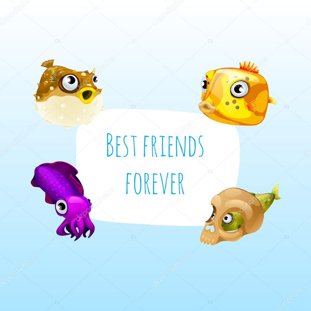 Four best friends fish with frame for text