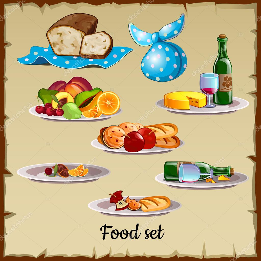 Set of food and waste