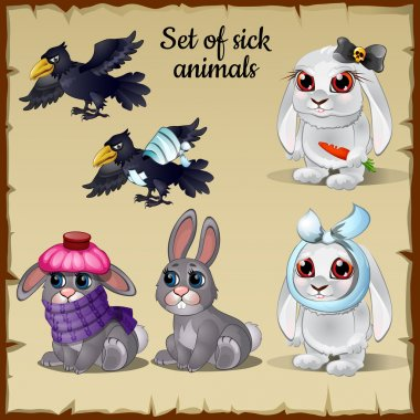 Three poor sick and healthy animals