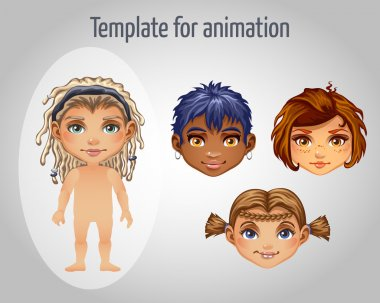 Set of four images of girls for animation