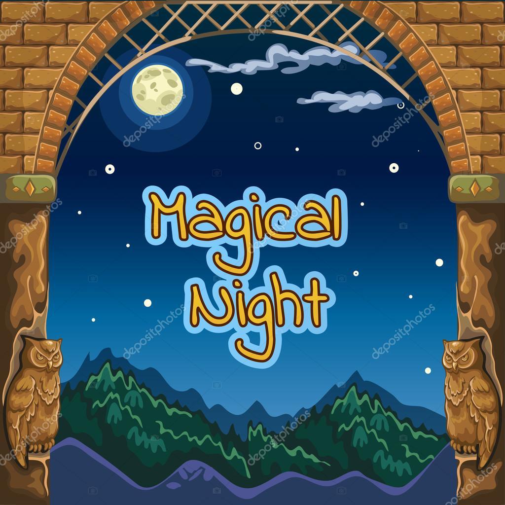 Tarjeta mágica noche con marco antiguo y esculturas de buhos ...