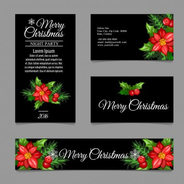 Four business card with red flowers on a black background