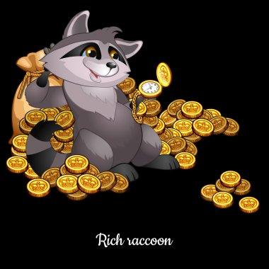 Rich Raccoon awash in money, black background