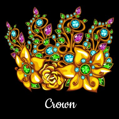 Precious crown with jewels and floral ornament