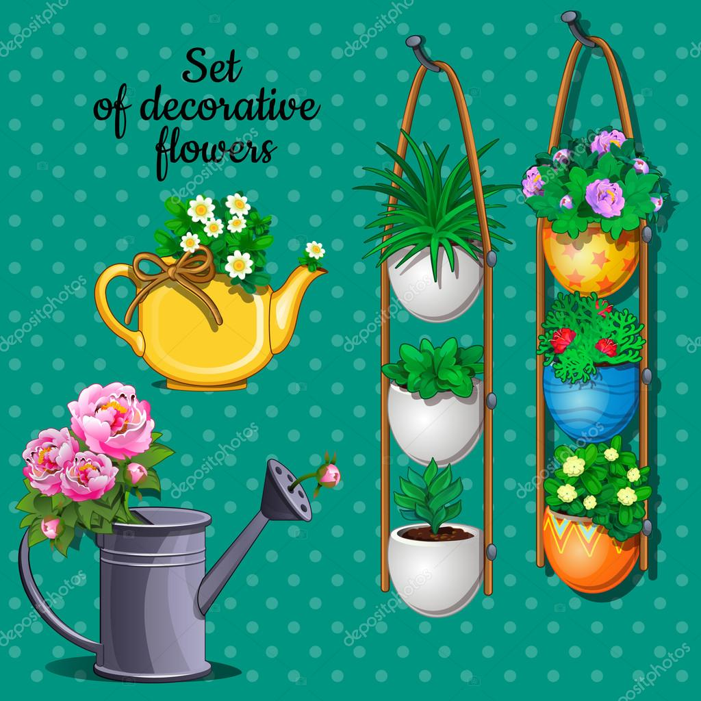Ornamental plants set, pots, watering can and vase