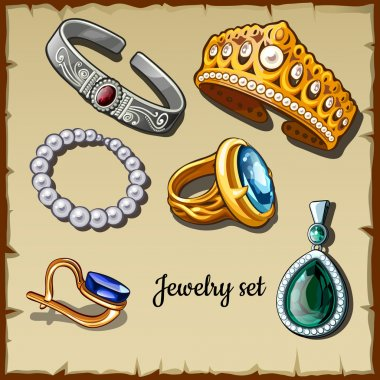 Postcard set of jewelry made stones, six icons