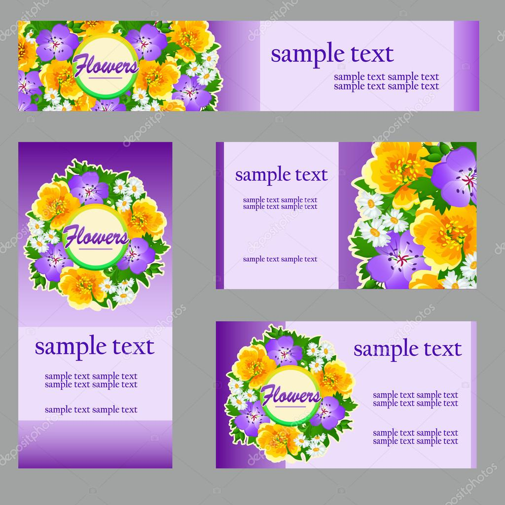 Set of cards with a picture of wild flowers, business brand