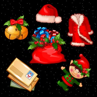 Christmas set of accessories, clothes and objects