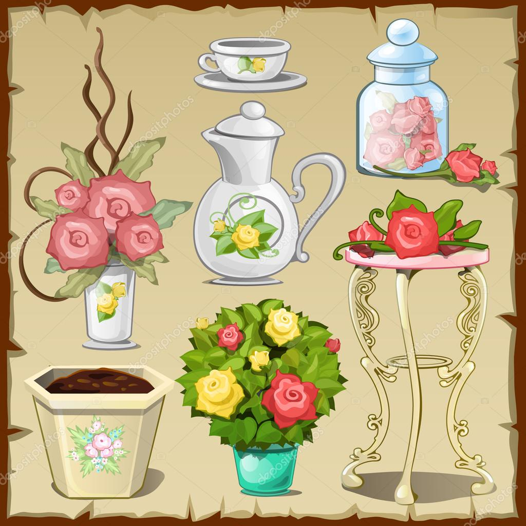 Great set of tableware, furniture and flowers