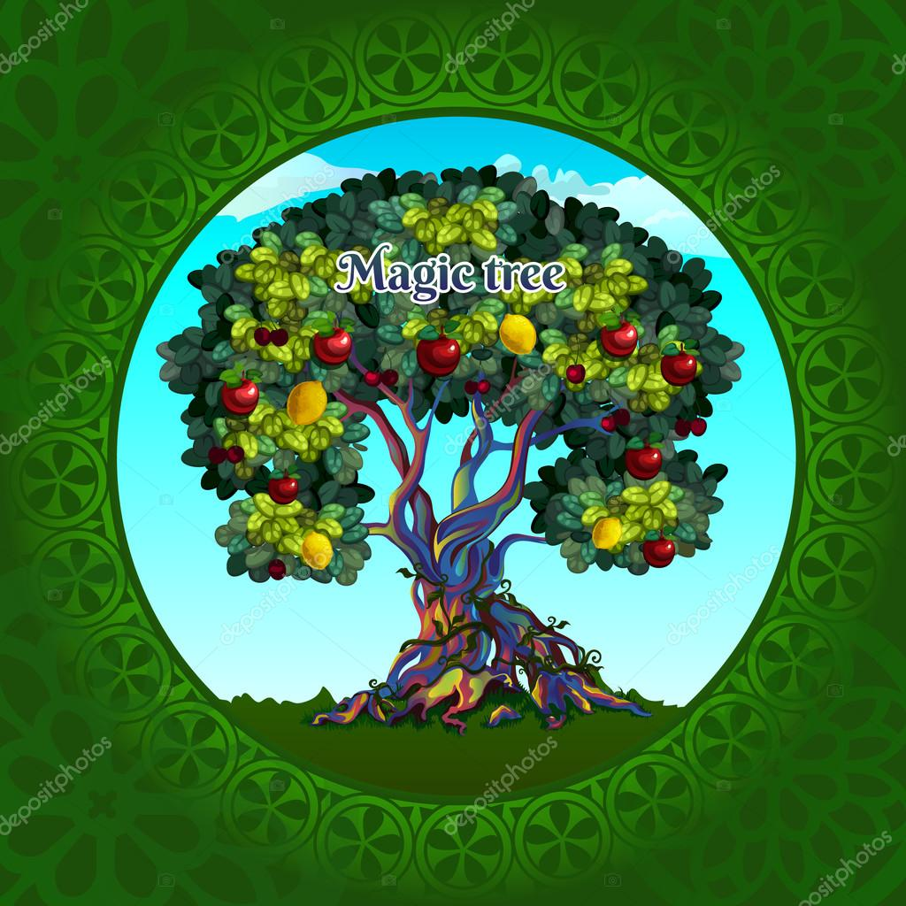 Magical tree with apples and lemons