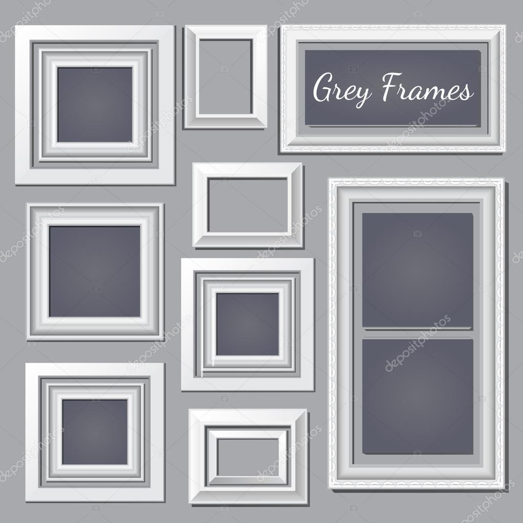 Conjunto de cuadros blancos y gris en la pared para sus necesidades ...
