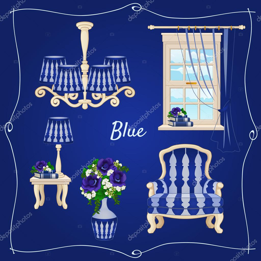 Set of classic furniture, five individual objects in blue