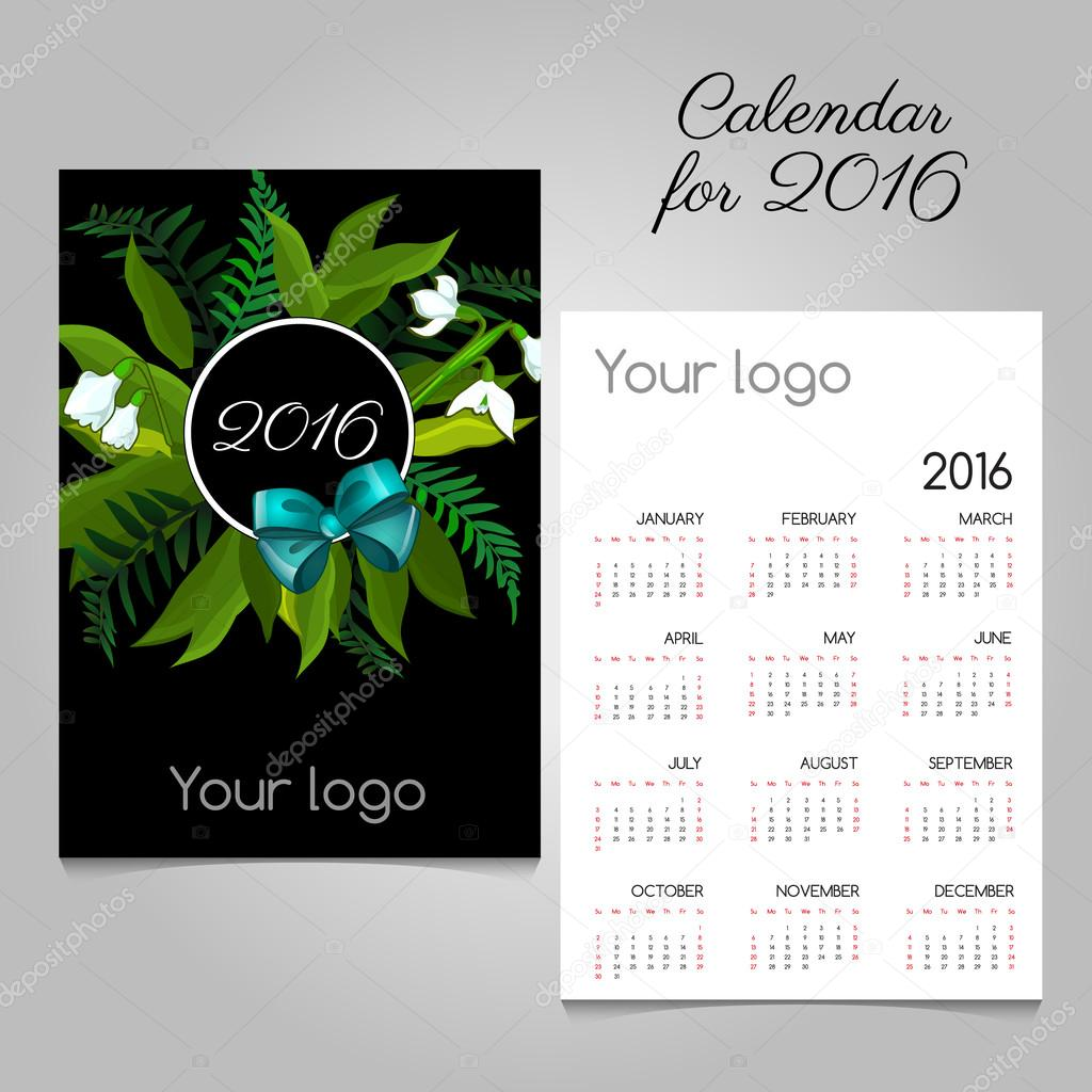 Stylized calendar 2016 with floral and bow