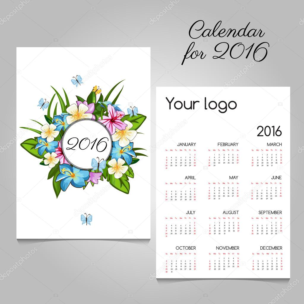 Calendar 2016 with floral ornament and butterflies
