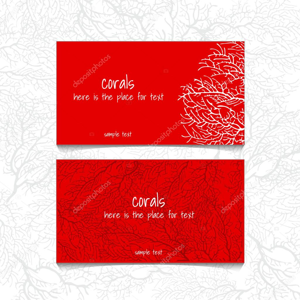 Coral red design horizontal business card