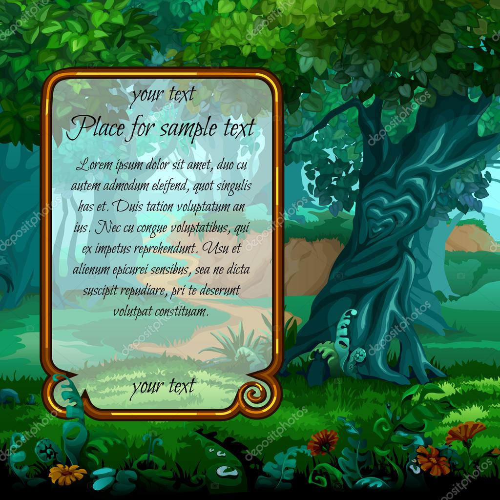 Mystical landscape with frame for text