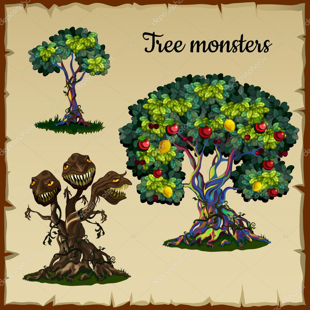 Set of trees and tree monster with dragon heads