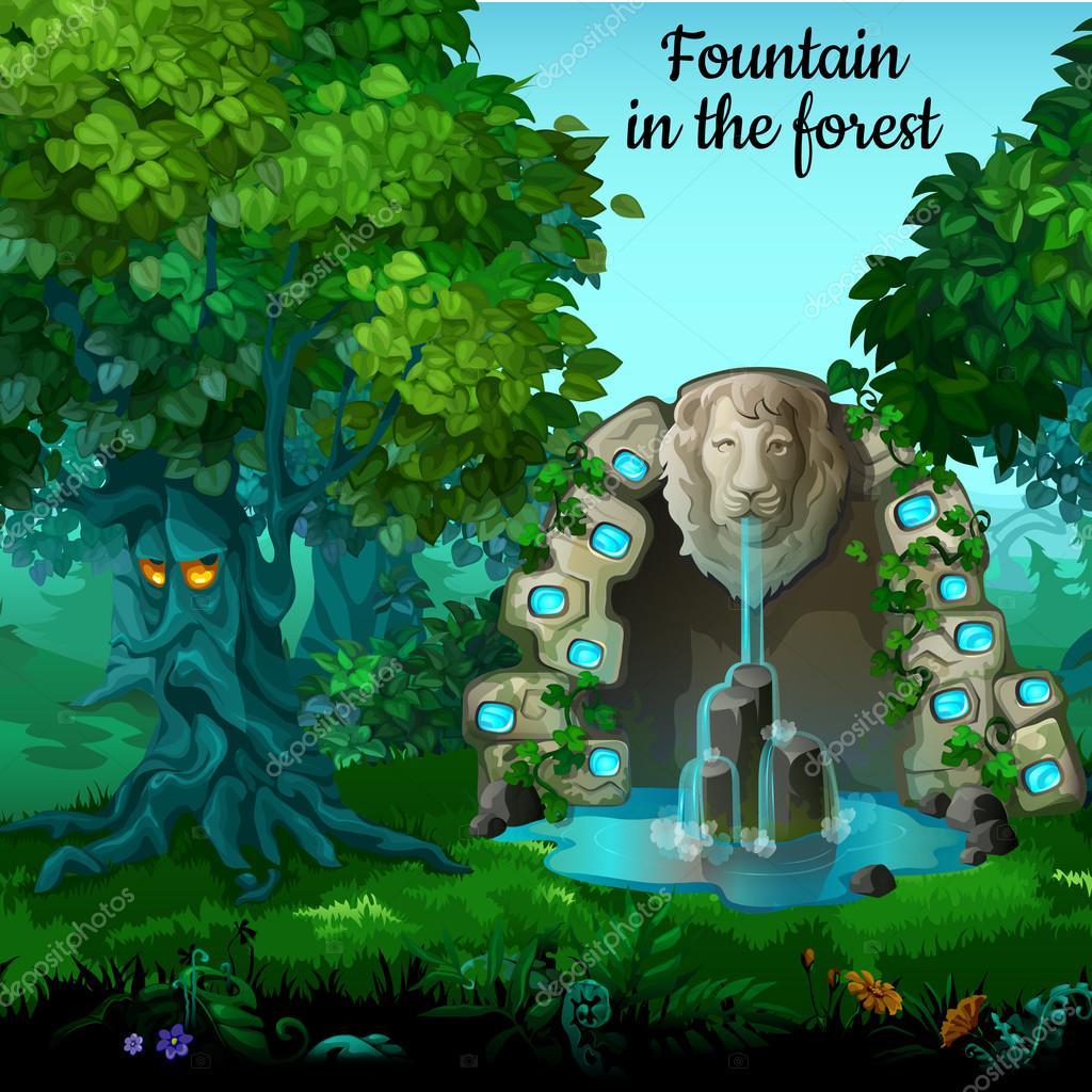 Mystic garden, fountain with lion head