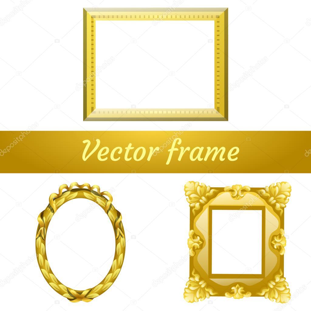 Conjunto de tres marco vacío de oro vector para sus necesidades de ...