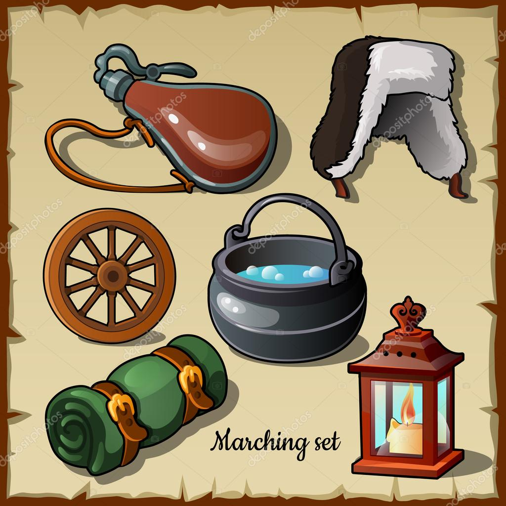 Set for those who wants to become a traveler, marching items