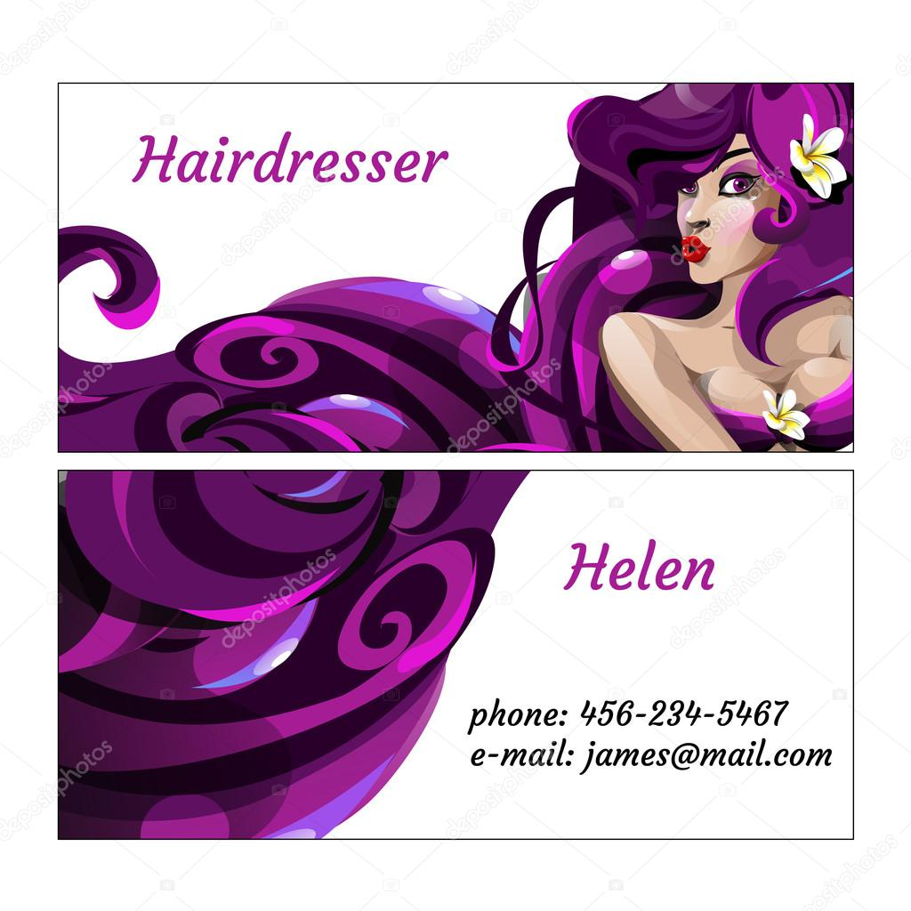 Stylish business card for hairdresser — Stock Vector ...