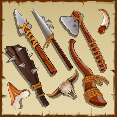 Equipment of a hunter, big set of ancient weapons