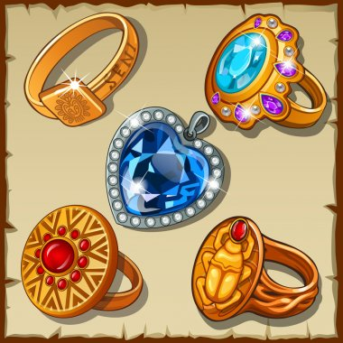 Classic and antique rings with symbols and precious stones