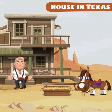 Wooden two-storey house of a cowboy in Texas and his horse