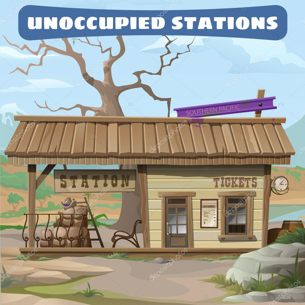 Station of the 19th century in Wild West series