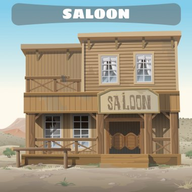 Wooden classic saloon in wild West, story series