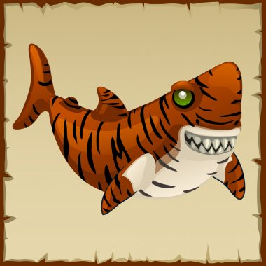 One evil tiger shark, vector cartoon character