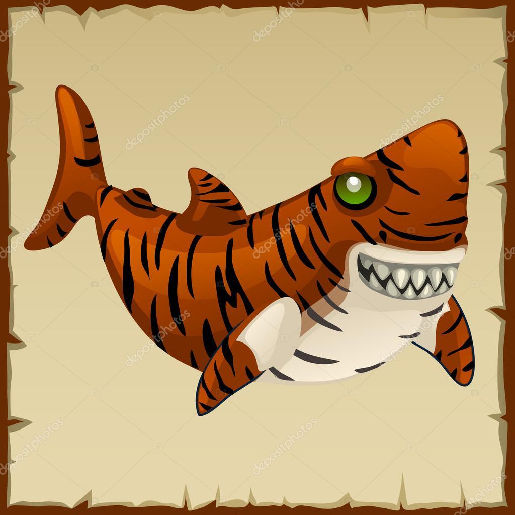 Un Requin Tigre Mal Personnage De Dessin Anime De Vecteur Image
