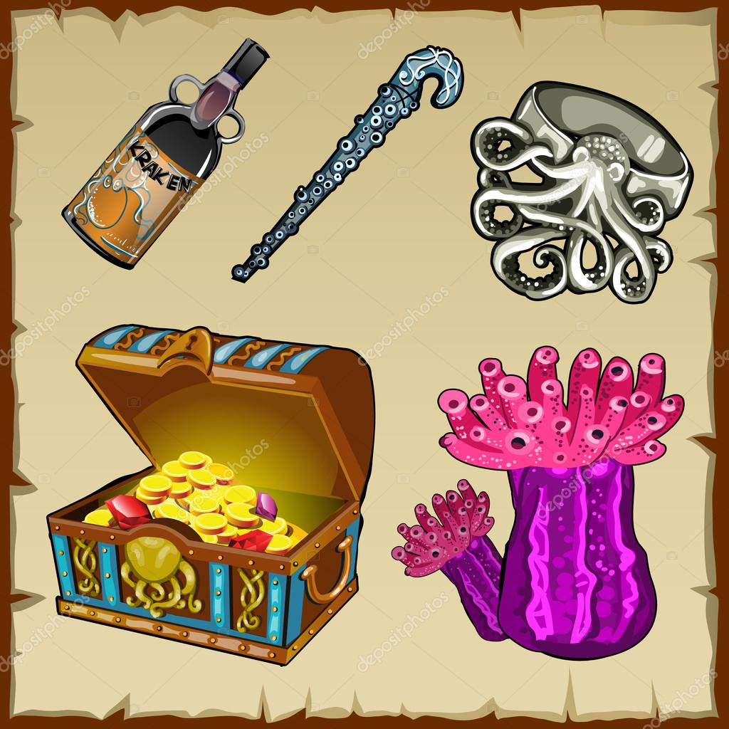 Set of underwater world objects and chest of gold