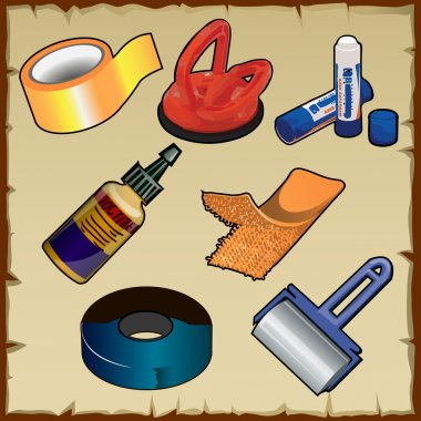 Set of adhesive and sticking materials and tools