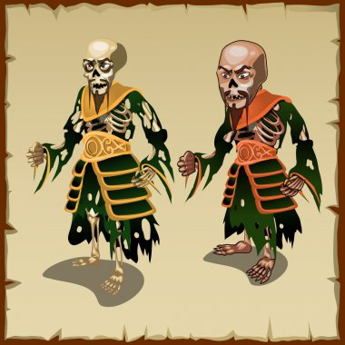 Two Asian zombies in the traditional rags costumes