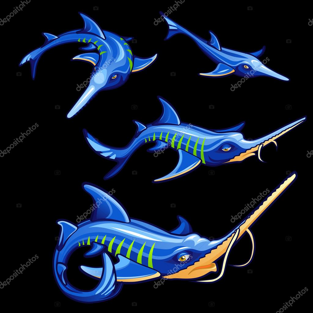 Set of four blue swordfishes, cartoon characters