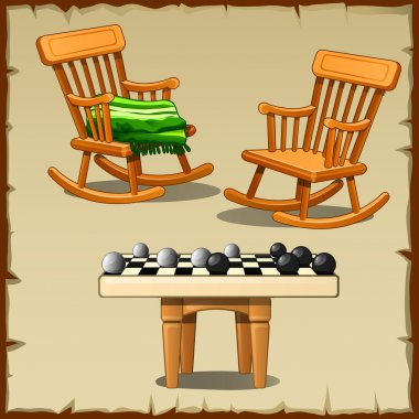 Two rocking chairs with checkers on wooden stools
