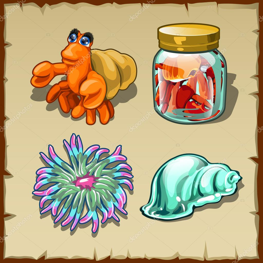 Funny marine inhabitants, set of four items