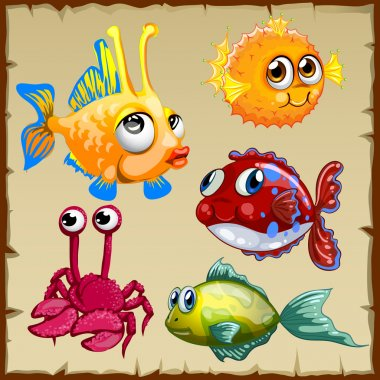Collection of exotic fish and crab, 5 icons
