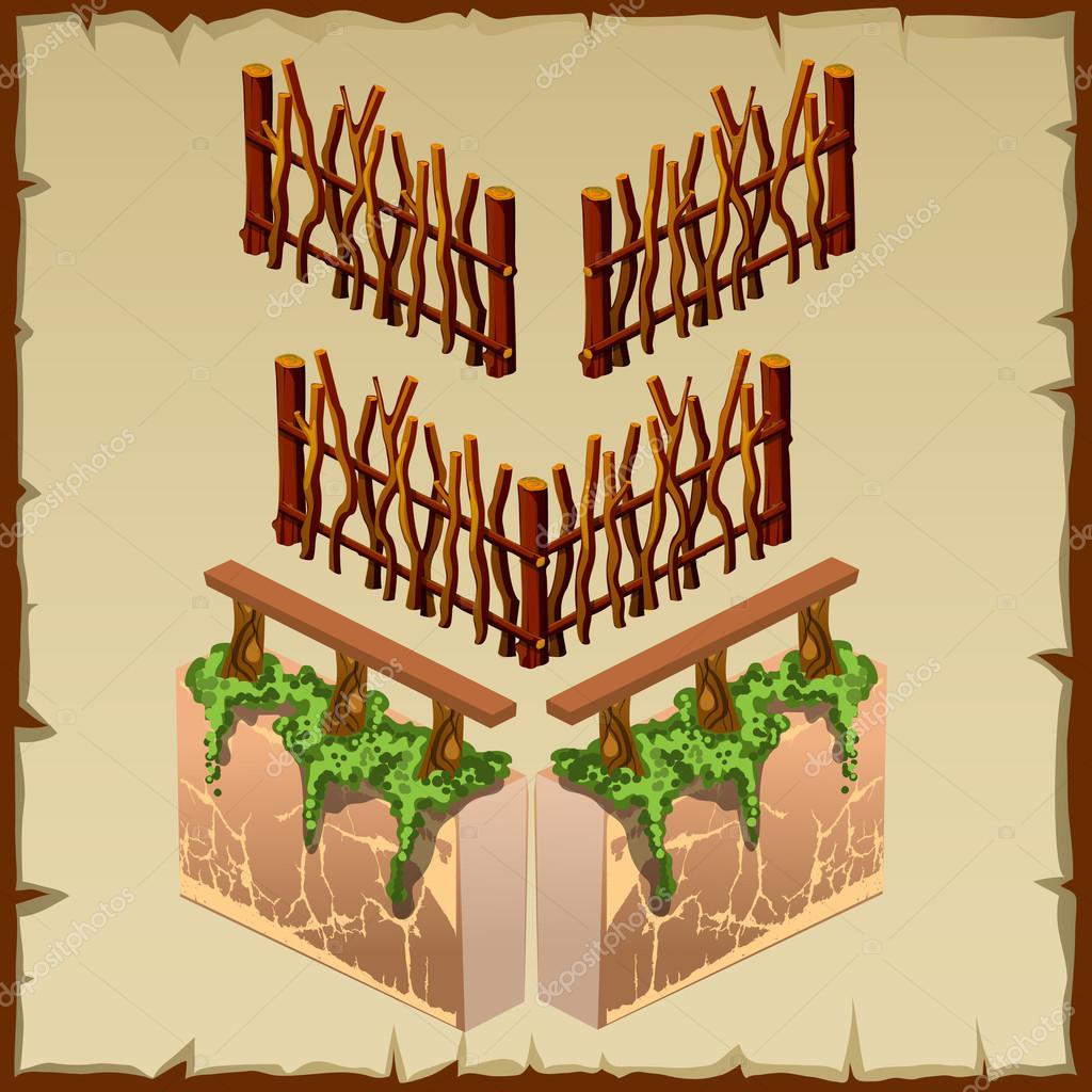 Elemente Der Zaun Aus Holz Und Stein Mit Moos Stockvektor