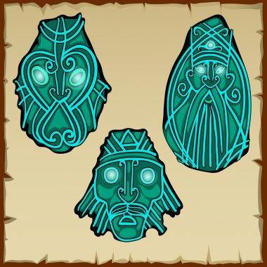 Set of three figures carved from stone, vector icons
