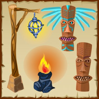 Two totems, fire and lantern, ancient symbols