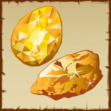 Raw gold and faceted gemstone, two icons