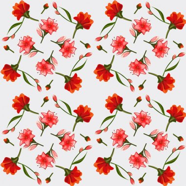 Texture of pink and red lilies, elegant postcard