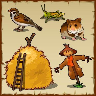 Village animals, haystack and scary scarecrow
