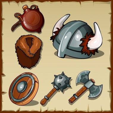 Vector set of the Vikings weapons and equipments stock vector