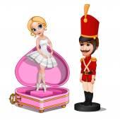Holz Soldat Spielzeug und Musik-Box mit Ballerina