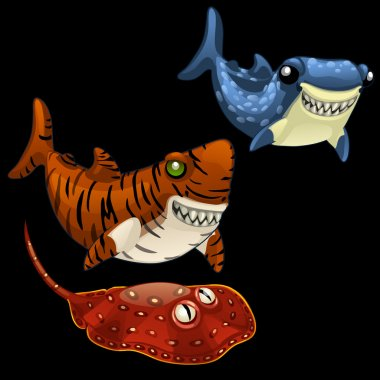 Two funny shark and Stingray on a black background